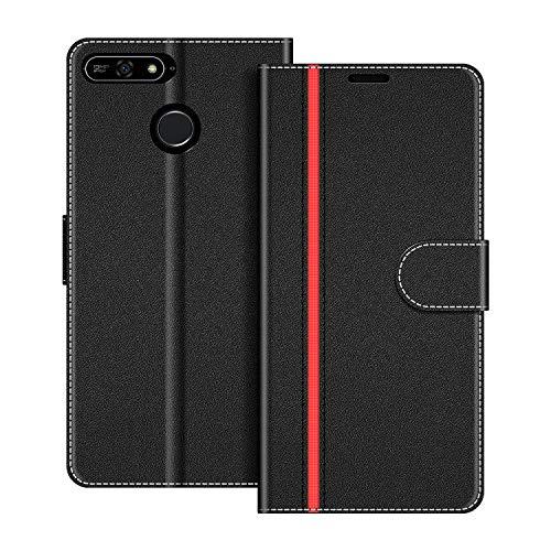 COODIO Handyhülle für Huawei Y6 2018 Handy Hülle, Huawei Y6 2018 Hülle Leder Handytasche für Honor 7A / Huawei Y6 2018 Klapphülle Tasche, Schwarz/Rot