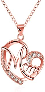 18K White Gold Rose Gold Plated Jewelry Love Mom Necklace Chain Pendant