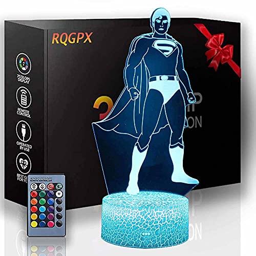 Lámpara de luz 3D Super Hero Gaming Light con control táctil regalos de cumpleaños de Navidad para niños