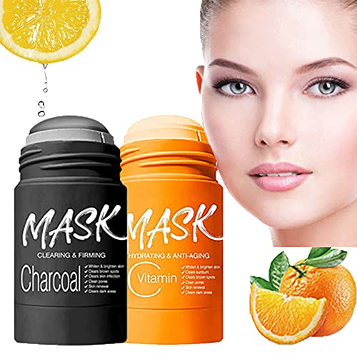 Purifying Clay Stick Mask,Charcoal Stick Mask,Bamboo Deep Clean Pore Blackhead,Moisturizing Nourishing Skin,for All Skin Types Men Women (VC+Bamboo charcoal)