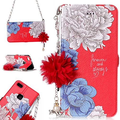 para Cajas de Cuero. DJM para Huawei P10 Lite Daisy Flower Poder Horizontal Funda de Cuero con Soporte y Ranuras para Tarjetas y Adornos y Cadenas de la Flor de la Perla (Color : Color4)