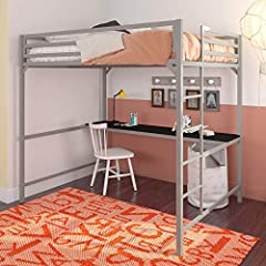 "Durable and sturdy metal frame designed with a clean-cut silhouette in a modern industrial style. Space-saving solution for kid and teen bedrooms. Includes an integrated desk perfect for storage and accessories. The frame has 58"" of under-bed clearan..."
