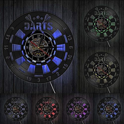 Wanduhren 3D Schwarz Schallplatte Uhr Dart Brettspiel Stille Retro Rund Uhr Pub Bar Nachtclub Led Hintergrundbeleuchtung Moderne Uhr Wandbild Beleuchtet