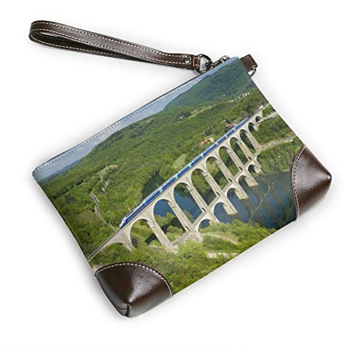 Il Ponte Treno Pochette In Pelle Unisex Pochette Donne Uomini carta portafoglio cinghia cerniera In Pelle per Ufficio Casual Viaggi