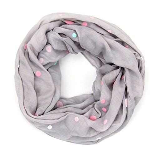 MANUMAR Loop-Schal für Damen   Hals-Tuch in grau mit Punkte Motiv als perfektes Herbst Winter Accessoire   Schlauchschal   Damen-Schal   Rundschal   Geschenkidee für Frauen und Mädchen
