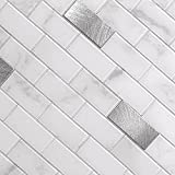BeNice Peel and Stick Backsplash for Kitchen Stickers,Peel and Stick Mosaic Tile,Stick Tiles for Bathroom Tile Stickers Peel and Stick Marble Tiles Waterproof Shower Tiles(5Sheets, Carrara White)