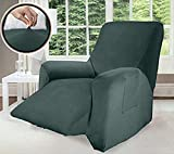GORILLA GRIP Original Velvet Fitted 1 Piece Small Recliner Slipcover, Stretch Up to 25 Inches, Soft Velvety Luxurious Slip Covers, Spandex Recliner Furniture Protector, with Fasteners, Hunter Green