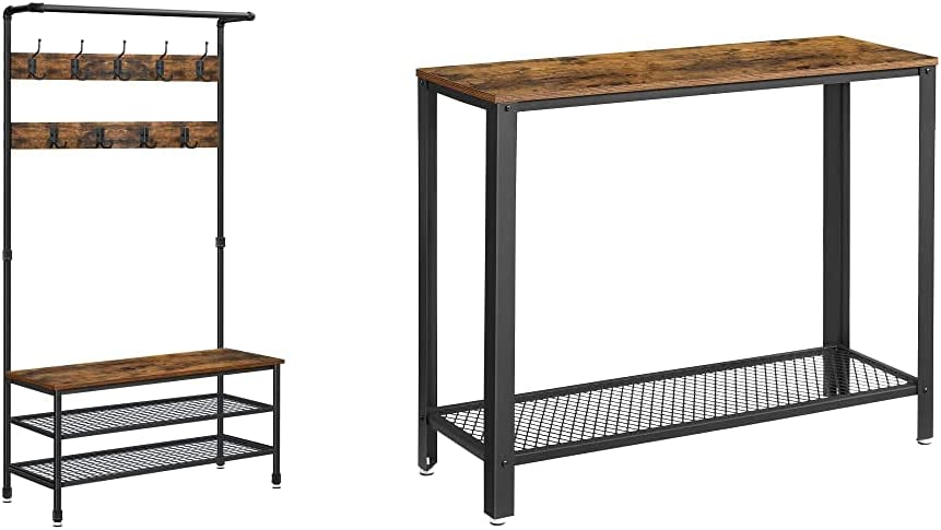 VASAGLE Industrial 高級品 Coat Rack Storage Pipe Style Bench 値引き Tree Hall