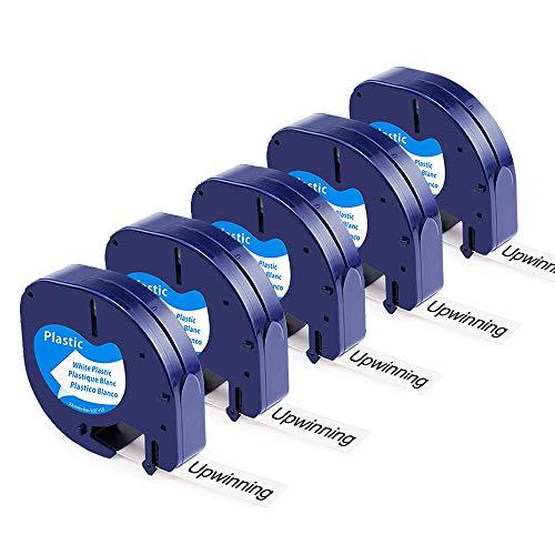 Upwinning kompatibel Schriftbänder als Ersatz für Dymo LetraTag Kunststoff Etikettenband 91221 S0721660 Wasserfest, 12mm x 4m weiss Plastik Etiketten für Dymo Letratag xr lt-100h lt100t lt110t, 5x