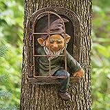AGDLLYD GNOME Statue,Gartenzwerg Lustig,Gartenzwerge wetterfest Garten Feenbaum Hugger Garten Peeker Ornament Baum Dekoration Outdoor Figur Statue Yard Art