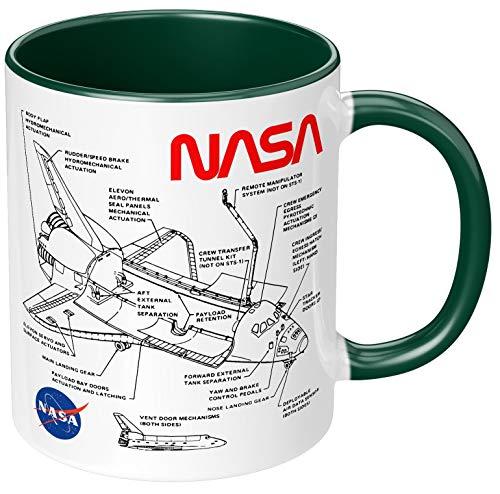 PAPAYANA - Space Shuttle NASA - Beidseitig Bedruckte Keramik-Tasse 325ml 11oz - Große Farbauswahl - Grün