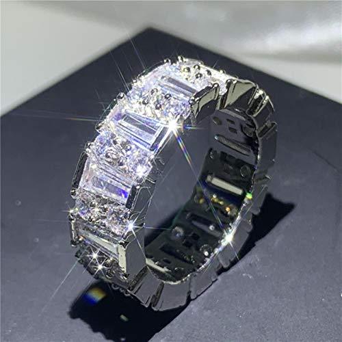 LuckyOne Anillo de compromiso hecho a mano de plata de ley 925 AAAA CZ anillo de compromiso de boda anillos para mujeres hombres fiesta joyería 9, estilo 2