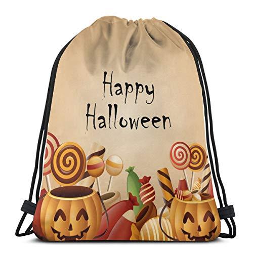 N/D Happy Halloween Karte Kürbisse Korb mit Süßigkeiten Frauen Mädchen Kunst Kordelzug Rucksack Beam Mund Gym Sack Schultertaschen für Männer und Frauen