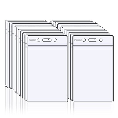 Ujoy 50 Piezas De Claro Titular De La Insignia Plástica impermeable De La Etiqueta De Identificación De La Tarjeta De Identificación
