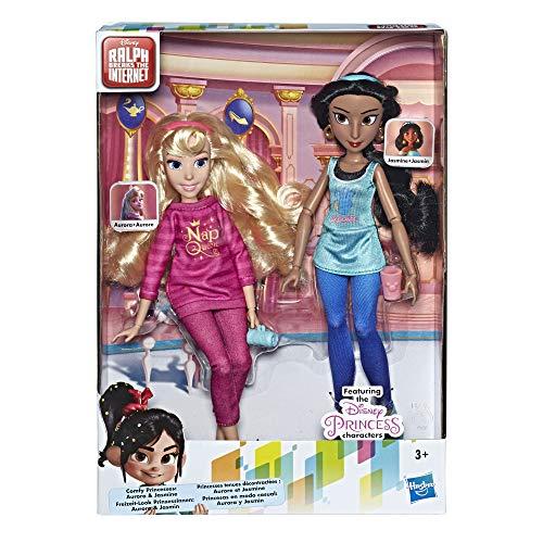 Disney Prinzessinnen Comfy Squad Jasmine und Aurora, Puppen zum Film Chaos im Netz mit Freizeit-Outfit und Zubehör