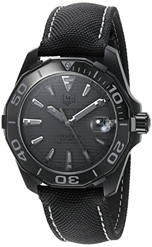 TAG Heuer Men's '300 Aquaracer' Swiss Automatic Stainless Steel and Canvas Dress Watch, Color:Black (Model: WAY218B.FC6364)
