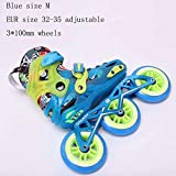 STBB Patins à roulettes Child Size Adjustable Speed Inline Skates Street Roller Skating Chaussures Blue M Taille de l'UE 32-35