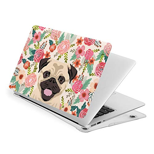 MacBook Pro 13 Inch Case Dog with Flowers Hard Laptop Shell Case Cute Protective Laptop Cover