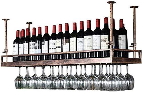 Estante para Vino: Estante De Decoración De Techo De Estante De Copa De Vino De Hierro Moderno para Bar, Restaurante, Cocina O Bodega (Color: Marrón, Tamaño: 150 Cm),150cm