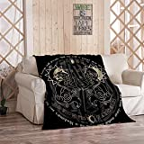 Fenrir Blanket,Plush and Warm Home Soft Cozy Portable Fuzzy Throw Blankets for Couch Bed Sofa,Two Wolves from Norse Mythology Hati and Skoll Devour The Sun and The Moon,50