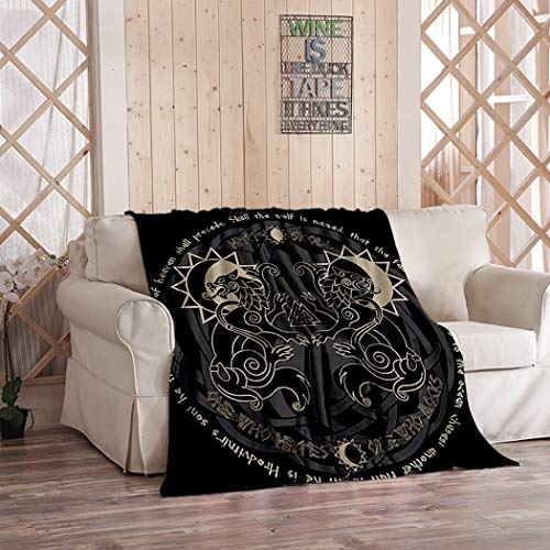 Fenrir Blanket,Plush and Warm Home Soft Cozy Portable Fuzzy Throw Blankets for Couch Bed Sofa,Two Wolves from Norse Mythology Hati and Skoll Devour The Sun and The Moon,50'x60'