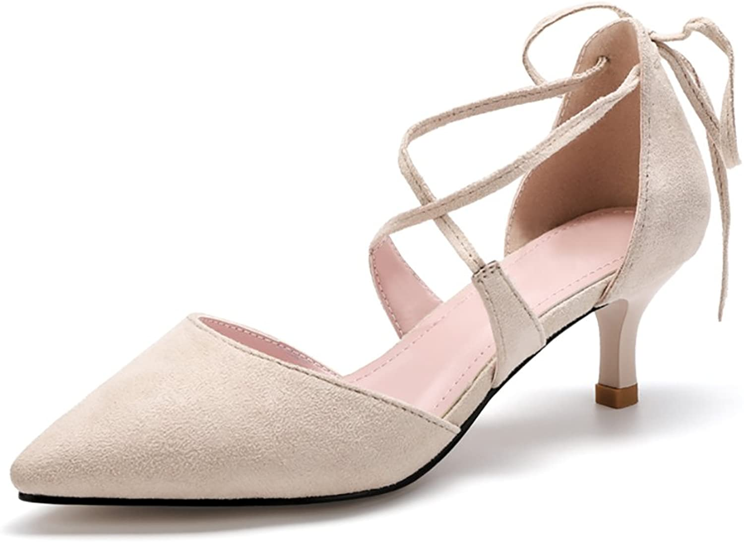 WENJUN Wild Shallow Pointed High Heels Female Students Baotou Fine with Fashion Wild shoes Professional shoes (color   Fine Heel - Apricot - 5.5cm, Size   39)