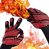 YINENN BBQ Grill Gloves with 932°F Heat Resistant and Insulated Silicone for Barbecue with Grilling,Smoker,Cooking and Oven,Baking,Fireplace,Frying and Kitchen-1 Pairs XL (13.5 Inches)-Red
