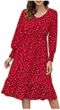Women Dresses Summer Casual V Neck Ruffle Wave Point Print Lantern Long Sleeve Dress Bohemian Long Maxi Dress Sundress