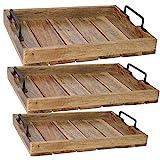 LS-LebenStil XL Mango-Holz Serviertablett 46x31x8cm Griff-Tablett Betttisch Betttablett