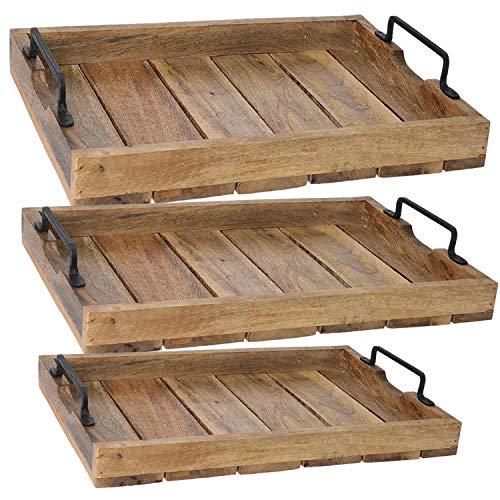 LS-LebenStil Mango-Holz Serviertablett 38x25x8cm Griff-Tablett Betttisch Betttablett