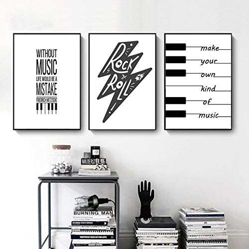 Canvastavla väggkonst affisch Nordisk abstrakt bild svartvitt piano tangentbord musik poäng text målning heminredning 40x50cmx3 bitar ramlösa