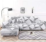 ELEOPTION - Funda de sofá elástica, conjunto de 2 fundas,para sofá de 3 personas en forma de L, incluye 2 fundas de...