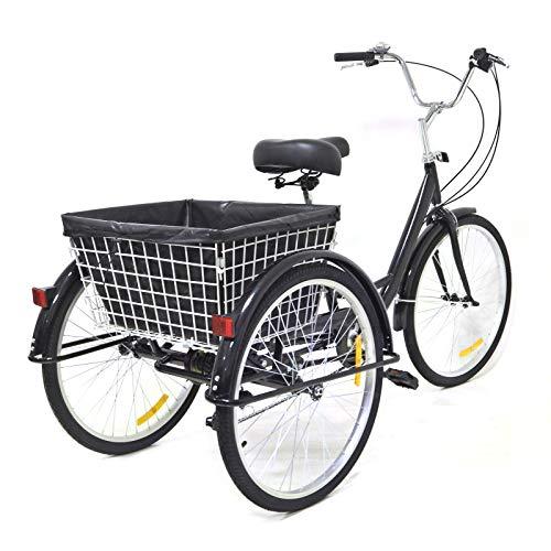 Dreirad Für Erwachsene,3 Rad Fahrrad Dreirad mit Einkaufskorb,Dreirad Trike Bike Radfahren ür Erwachsene und Senioren(8 Geschwindigkeit,24Zoll)