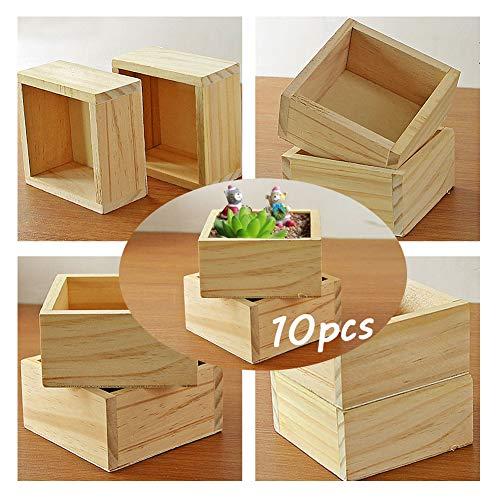 Weanty - Cajas cuadradas para plantas, 10 unidades, para jardinería, suculentas, maceta, madera, manualidades, tesoros, caja de almacenamiento de escritorio