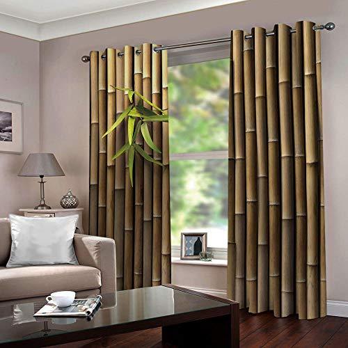 SFALHX Vorhang Schlafzimmer Bambus Gardine Blickdicht Thermo Vorhang Kinderzimmer Gardinen Junge Mädchen Ösenvorhang 2 Stücke/B117 x H138cm
