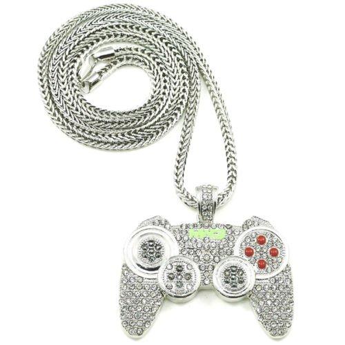 B-Creative Collar con colgante de joypad con mando de juego de 90,6 cm (plateado)