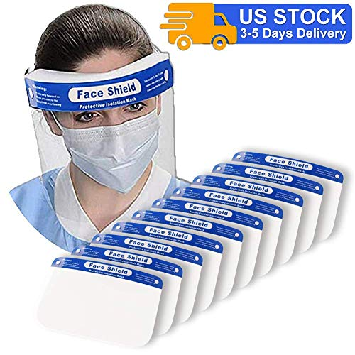 [Fulfillment By Amazon] Sunzel 10 Pieces Face Shields with 10 Bands and 10 Sponges for Man and Women to Protect Eyes and Face