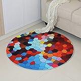 Alician Home Alfombra redonda 3D antideslizante alfombra para silla de ordenador para el hogar y la habitación de los ni?os, Diversificación, 80 cm