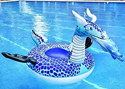 CMYK Pool Float, Giant Inflatable Rafts Beach Decorations Toy, Summer Beach Swimming Pool Large Rideable Blow Up Ice Dragon , Adults & Kids, Patch