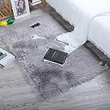 DAOXU Piel de Imitación,Cozy sensación como Real, Alfombra de Piel sintética Lavable para sofá o Dormitori (60 x 90cm, Gris)