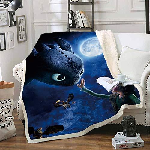 NICHIYO How to Train Your Dragon Wohndecke Kuscheldecke Fleecedecke extra Warm Sofadecke Couchdecke Flauschige Decke Erwachsene Kinder Mikrofaser for Bettcouch und wolldecke Cartoon (10,150 * 200cm)