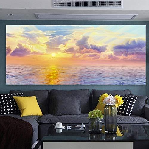 Leinwanddrucke Buntes Wolkensonnenaufgang-Bildplakat und dekorative Kunst für Wohnzimmer50x75cmRahmenlose Malerei