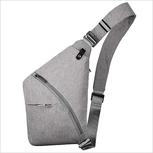 SHENAISHIREN Sling Mochila para el pecho, bolso de hombro, de nailon, unisex, para hombres y mujeres, gris