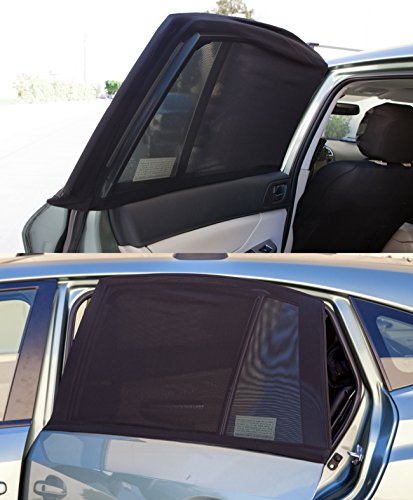 OxGord Universal Slip-On Open Air Car Window Mesh Sun Shade, Bugs Screen Cover for Privacy and Security- Black, (Set of 2)