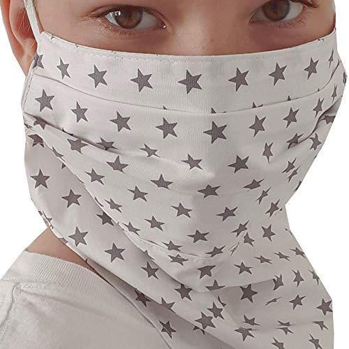 Mundschutz Schal, Maske, Gesichtsmaske, Multifunktionstuch, Halstuch für Frauen genäht in Deutschland | mit Gummiband, rutscht nicht |zweilagig, atmungsaktiv Baumwolle waschbar 60°C | Sterne grau
