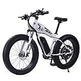 Bicicleta eléctrica de montaña HR de 26 pulgadas, neumáticos de nieve, bicicleta eléctrica, 21 marchas, bicicleta de montaña, 1000 W, 48 V, 17 Ah, batería de litio, frenos de disco