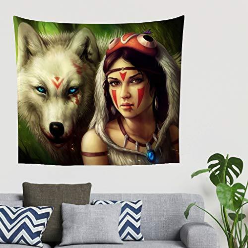 Stammes - Tapiz de pared con diseño de lobo americano y ureinwohner para niña, étnico, indio, indio, lobo muerto, decoración de pared, dormitorio, hogar o pared 79 * 59in blanco