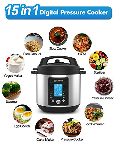 15-in-1 Electric Pressure Cooker, Instant Digital Pressure Pot with Time Delay Function, 6 Quart, Stain-Resistant Slow Cooker, Steamer, Saute, Yogurt Maker, Egg Cook, Sterilizer, Warmer, Rice Cooker with ETL Certified, Deluxe Accessories and Recipes