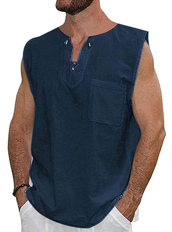 Keaac メンズカジュアルビンテージノースリーブルーズフィットレースアップコットンリネンTシャツ