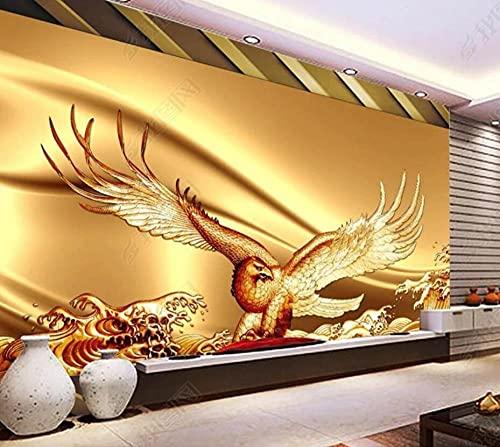 Papel Pintado Pared Papel Dormitorio Salon Decoración de Paredes Águila Abstracta Olas Del Mar Fotomural 3D Papel Tapiz Custom Mural Pared 350x250cm XXL
